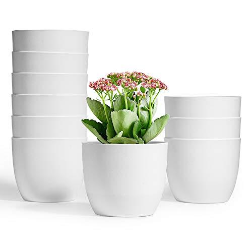 T4U 12cm Selbstwässernder Blumentopf Weiß 10er-Set, Selbstbewässerung Wasserspeicher Pflanzgefäß Übertopf für Innen- und Außenbereich