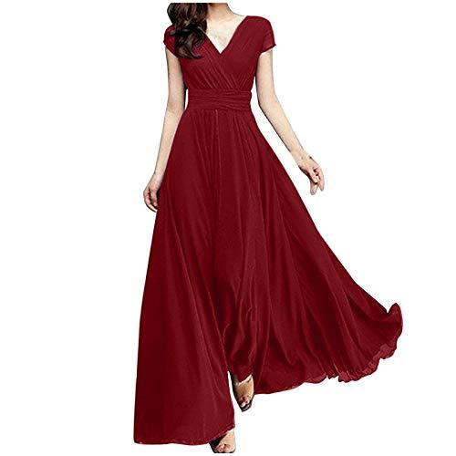 YANFANG Vestido Elegante Largo Mujer, Vestido de Noche con Cierre de Cintura de Gasa y Manga Corta de Color sólido con Cuello en V para Mujer