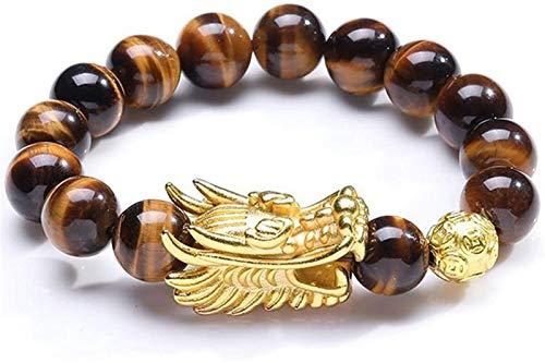 SUCICI Feng Shui Wealth Bracelet Natural Tiger Eye Bracelet with Gold Dragon Head Ornament Heart Sutra Buddha Bead Bracelet Attract Good Luck Money Jade Bangle Gift for Men/Women 12cm