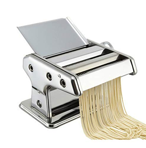 Manual Maker Pasta Machines Kleine Huis Dough Roller RVS Noodle Cutter Fresh Pasta Making Machine voor spaghetti en lasagne Tagliatelle Fettuccine, 2 Blades,Silver