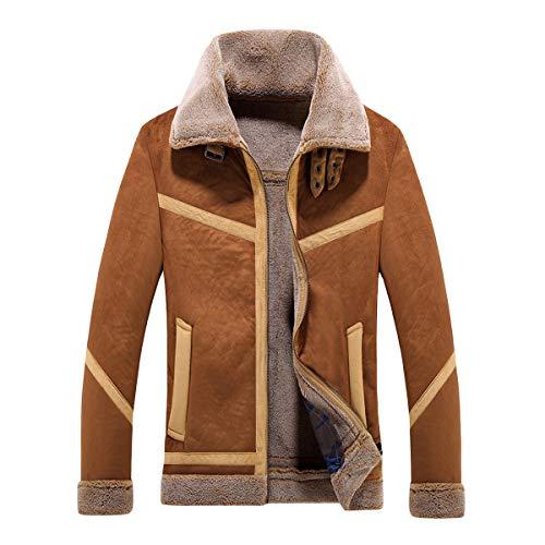Herren Shearling-Mantel Fashion Wintermantel Kurz Warm Slim Fit