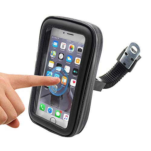 Folconauto Soporte para teléfono de Moto de Motocicleta a Prueba de Agua,Scooter Ajustable Moto Espejo retrovisor Soporte para teléfono para iPhone Xiaomi Samsung Huawei