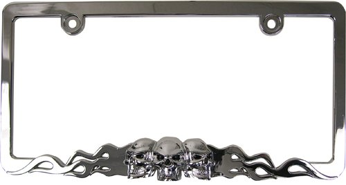 Custom Accessories 92812 Skull in Flames License Plate Frame