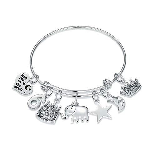 M MOOHAM 6th Birthday Gifts for Girls Bracelet, 6th Birthday Charm Bracelet 6 Year Old Girls Gifts Jewelry Six Birthday Gifts Ideas for Kids Little Girl Daughter Granddaughter