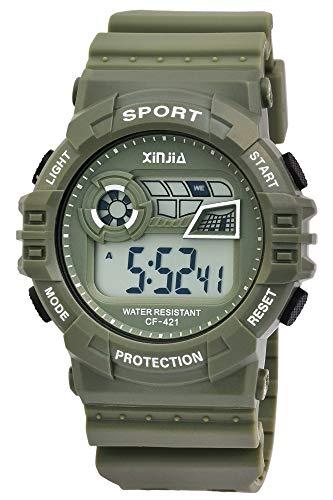 Xinjia Protection - Reloj Digital de Pulsera para Hombre (Cuarzo, Silicona, Alarma, cronómetro, Fecha), diseño Retro, Color Verde y Blanco