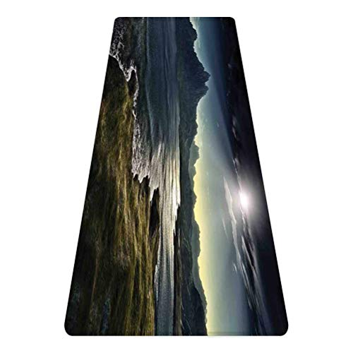 SoSung Fantasy House Decor Rug Runner,Image of Dark Fantasy Landscape with Sunbeams Over Ocean Seacoast Cliff Mountain,for Living Room Bedroom Dining Room,4'x 2',Navy Green