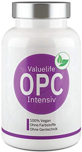 OPC Intensiv: Französischer Traubenkernextrakt, optimiert mit starkem Resveratrol - Vegan, hochdosiert, laborgeprüft, ohne Zusatzstoffe - 120 OPC Kapseln von VALUELIFE