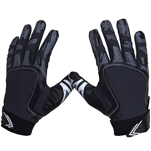Pure Athlete Football Receiver Gloves – Elite-Stick Silicone Gripping Technology – Adult Sizes (Black, Large)