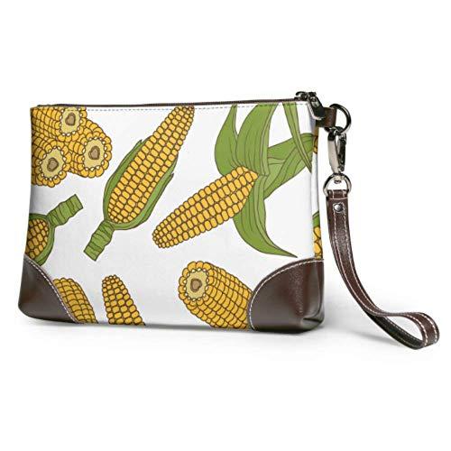 Ahdyr Bolso de mano de cuero suave impermeable para mujer, bolso de mano de cuero, cosecha de maíz maduro, cartera para niñas, cartera con cremallera para mujeres y niñas