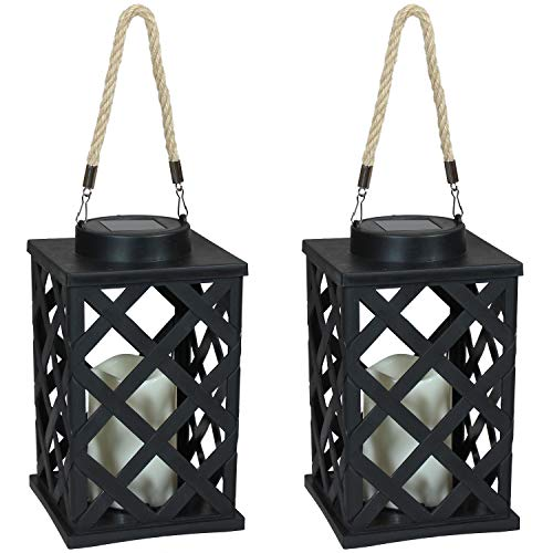 Sunnydaze Modern Crosshatch Outdoor Solar LED Decorative Candle Lantern - Rustic Farmhouse Decor for...