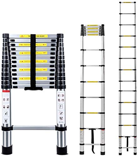 13.5 FT EN131 Lightweight Telescoping Ladder-Max Load 330 lbs,Jason 4.1 Meter Aluminum Telescopic Extension Ladders for Home,Outdoor and Business etc. [Step A +++](13.5TF/4.1M)