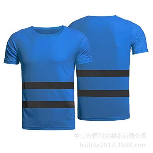Vest Reflecterende Veiligheid Outdoor Sport Fluorescerende Hoge Zichtbaarheid Veiligheid Werk Shirt Zomer Ademend Werk T Shirt Reflecterende Vest T-Shirt Snel Droog L Blauw