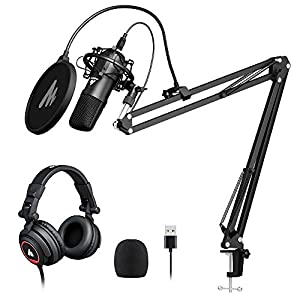 Computer Microphone with Headset MAONO AU-A04H USB Cardioid Podcast Condenser PC Mic for Gaming, Recording, PS4, Streaming, ASMR, YouTube, Singing, Vocal