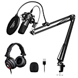 USB Microphone with Studio Headphone Set 192kHz/24 bit MAONO A04H Vocal Condenser Cardioid Podcast...