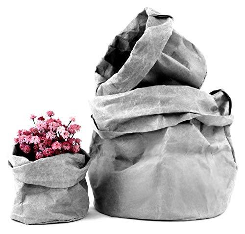 Set 3 Cestas de Papel Kraft Ecológicas - Maceteros Decorativos de Interior, Cubremacetas, Tiestos para Plantas - Macetas Decorativas Pequeñas Modernas
