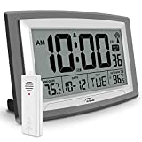 """WallarGe Atomic Clock with Outdoor and Indoor Temperature - Self-Setting Alarm Day Digital Clock Large Dispaly,10"""" Battery Operated Wall Clocks or Desk Clocks for Bedroom,Livingroom,Office"""