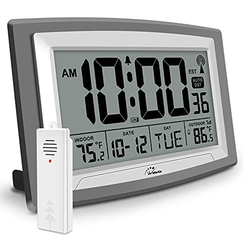 WallarGe Atomic Clock with Outdoor and Indoor Temperature - Self-Setting Alarm Day Digital Clock Large Dispaly,10' Battery Operated Wall Clocks or Desk Clocks for Bedroom,Livingroom,Office