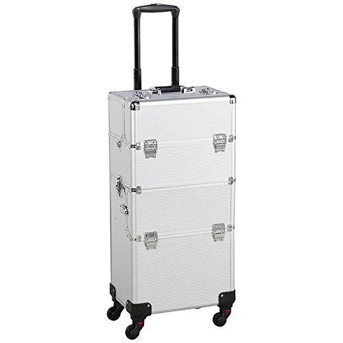 Yaheetech Valigia Trolley Make Up da Trucco per Estetista Professionale Beauty Case da Viaggio Grande Telaio in Alluminio 36 x 24 x 78 cm Argento