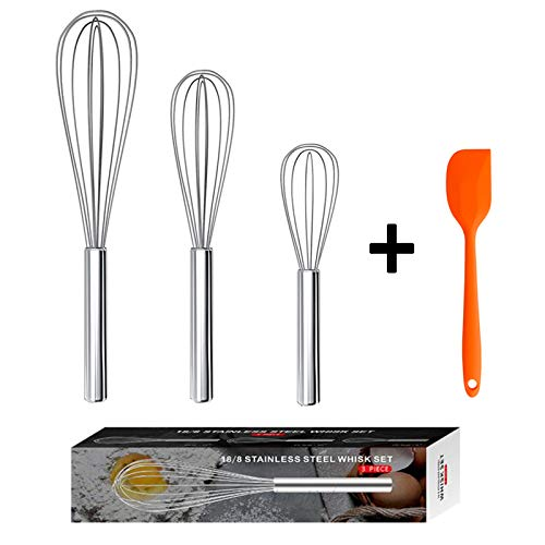 """EasyOh 3 Pack Kitchen Whisk 8""""+10""""+12"""", Stainless Steel Wire Whisk Set, Whisks for Cooking, Blending, Whisking, Beating, Stirring"""