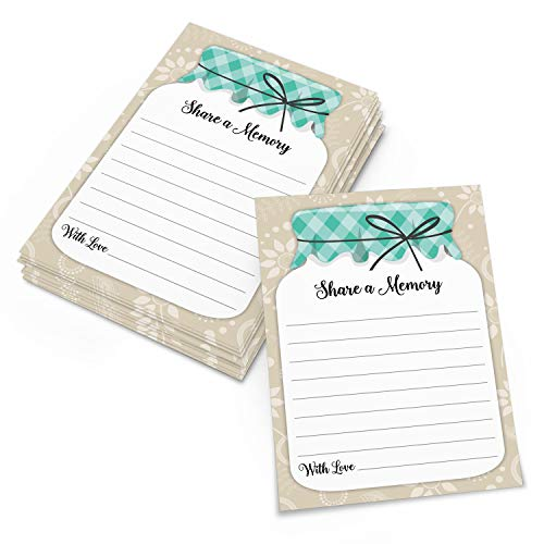 """321Done Share a Memory Cards Mason Jar (50 Cards) 4"""" x 6"""" for Celebration of Life Birthday Anniversary Memorial Funeral Graduation Bridal Shower - Vertical Lined - Made in USA"""