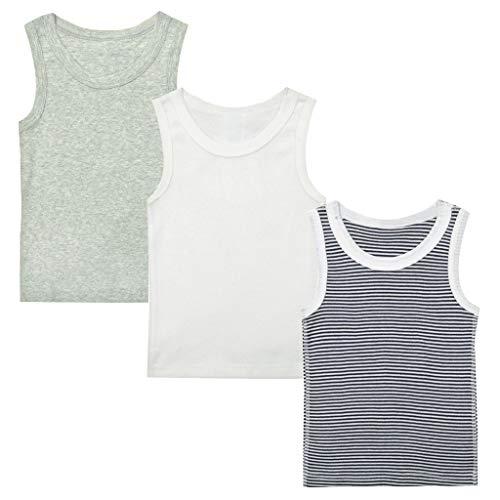 Minizone Kinder Unterhemden 3er Pack Jungen Mädchen T-Shirt Ärmellos Tops Baumwolle Babykleidung 12-18 Monate