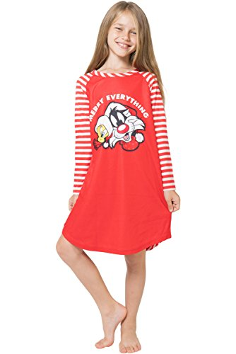 Looney Tunes Girls 'Santa Tweety and Bugs Bunny Holiday Merry Christmas' Fleece Striped Pajama Gown Red, 7/8