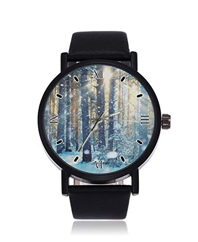 Reloj de Pulsera para Hombre con Correa de Cuero y Cuarzo de Acero Inoxidable de Snowy Forest