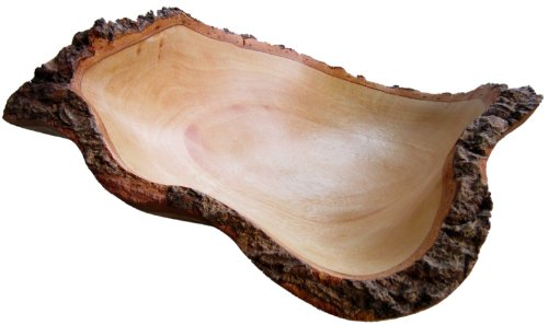 roro 10 In Mango Wood Fruit Bowl with Bark Edges Made from...