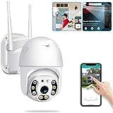 Haobuy Cámara de Seguridad inalámbrica al Aire Libre, Cámara IP Impermeable para el hogar 1080P WiFi, Visualización remota de detección de Movimiento y alertas automáticas para Android/iOS/PC