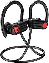 LOI-02 Bluetooth Headphones, 12Hrs & Bluetooth 5.0 Sport Earphones, IPX7 Waterproof Running Headphones w/CVC 6.0 Noise Cancelling Mic, for Running, Gym, Black