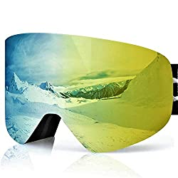 devembr ski goggles for men and women wearing glasses, magnetic interchangeable snowboard goggles, anti fog, UV protection, helmet compatible, snow goggles for skiing snowboarding (gold lens, VLT 21%)