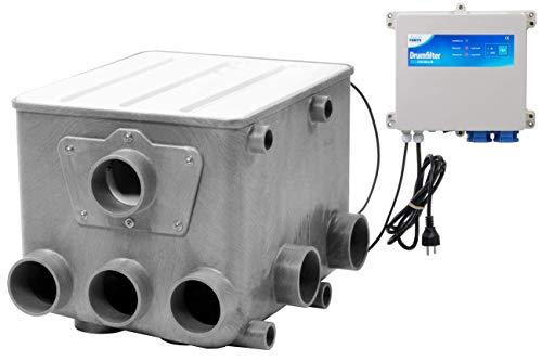 AquaForte Filtre à Tambour avec Couvercle Blanc et contrôleur.