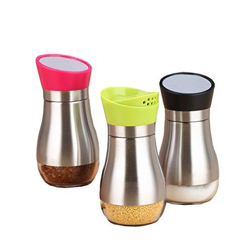 ZFDM Sello de botella de condimento asado Bote de sal Acero inoxidable Pimienta Polvo Botella de esparcimiento Bote de polvo Botella de condimento Vidrio Inicio