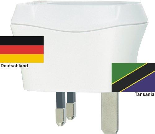 Design Reisestecker Adapter Tansania auf Deutschland, Schukostecker 230V, Umwandlungsstecker TZ-D
