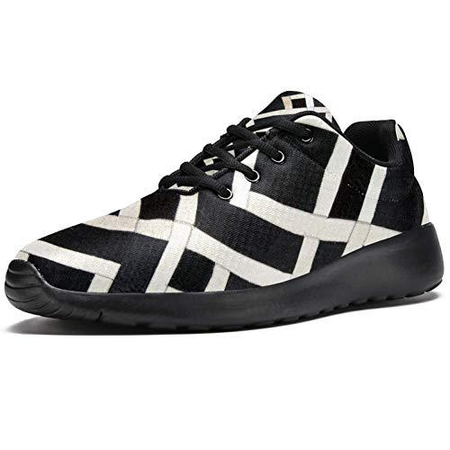 TIZORAX Zapatillas de correr para hombre, color blanco y negro, a cuad