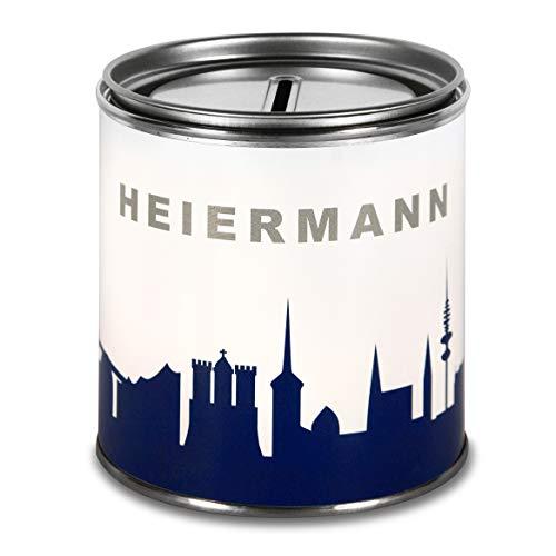 44spaces Spardose Hamburg Heiermann Geldgeschenke - Witzige Geschenkdose in Blau, Geld Scheine Schenken Geldgutschein Geld-Verpackung Trinkgeld Urlaubgeld Hochzeitsgeschenk