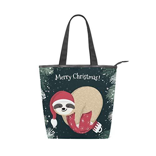 Merry Christmas Sloth Leisure Fashion Canvas Handbag...
