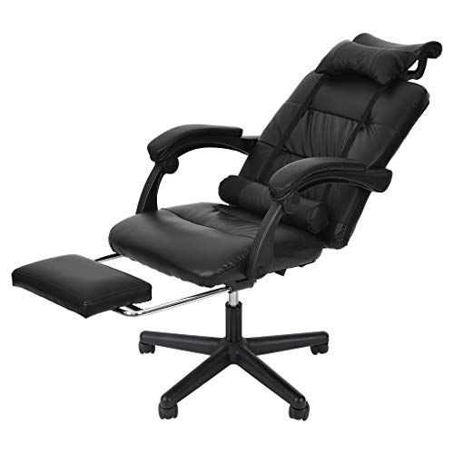 Gaming Chair with Footrest, Home Office Reclining PU Leather High Back Ergonomic Adjustable Swivel Executive Computer Desk Large Size Footrest Headrest Lumbar Support Adjustable arms Cushion