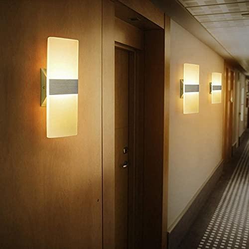 Led Lámpara De Pared Lámpara De Pared Interior Salón Pared Moderno Corredor Estudio La Moda Aplique De Pared Moderno 6W Set 2 Led 3000K Aplique Blanco Cálido Con Iluminación