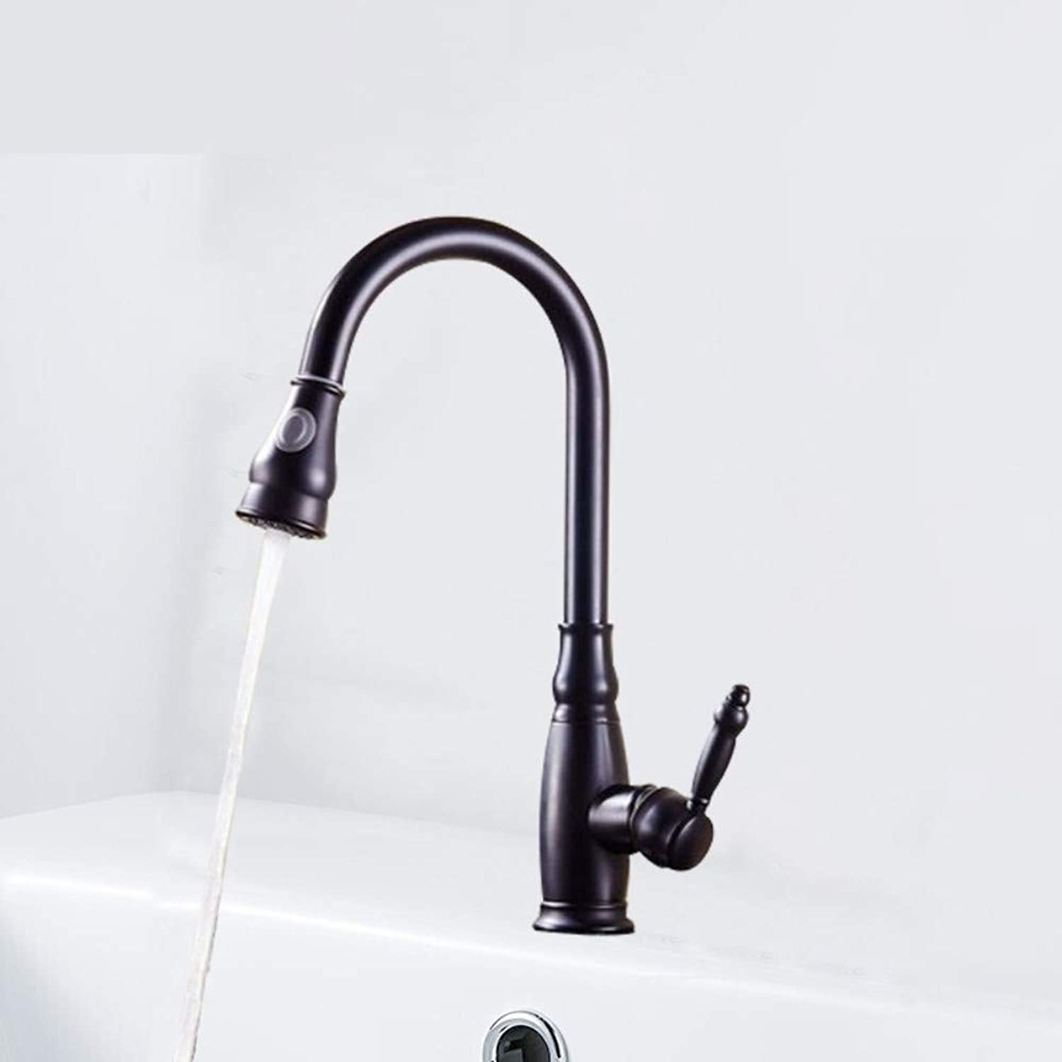 Bathroom Sink Taps Faucet Basin Faucet,Black Matte Kitchen Sink Faucet Hot and Cold Pull Telescopic redary Faucet