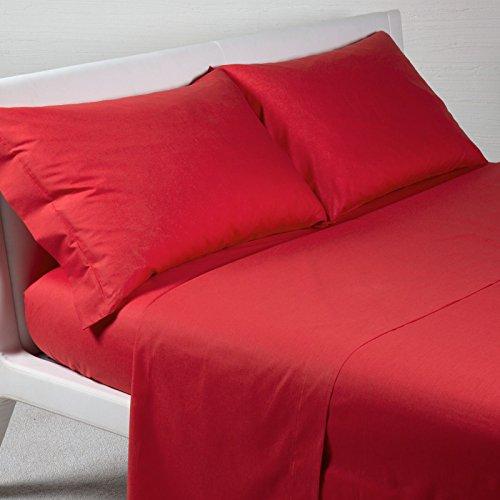 Bettwäsche-Set, einfarbig, 100 % Baumwolle, für Doppelbett, Einzelbett, französisches Bett (rot, Doppelbett)