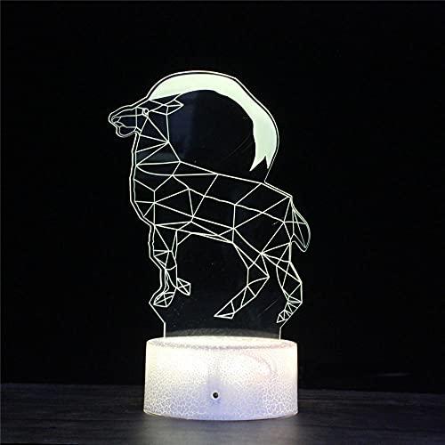 Luz de noche 3D para niños, Ilusión 3D Alce junto a la lámpara de mesa, 16 colores que cambian con control remoto, regalo de cumpleaños para niños y niñas