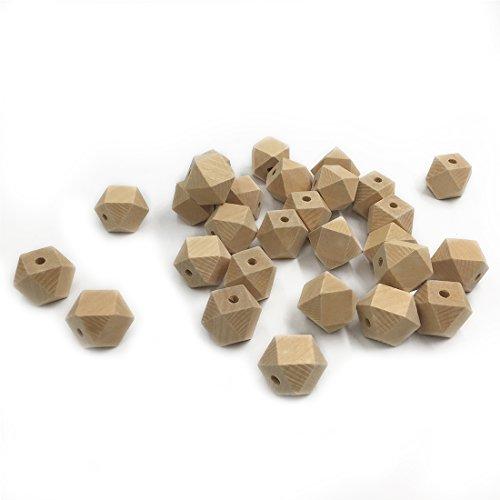Coskiss 50pcs Mordedor para bebés Juguetes 0.71inch (18mm) de madera geométrico hexágono Cuentas de mascar enfermería Mordedor de madera para el bebé Mordedor collares/pulseras (50pcs)
