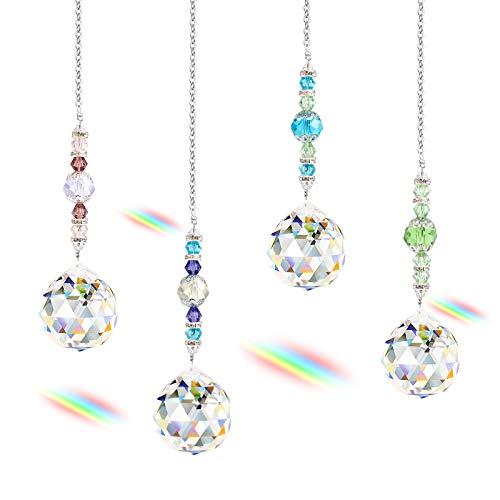 Colgante de Cristal de Ventana de 4 Piezas, Atrapasol de Cristal para el Sol, Atrapasol de Cristal para el Sol con Cadena para decoración Colgante de lámpara de Techo (4 Tipos)