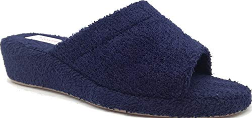 3Rose - Sandalias de felpa abiertas, antideslizantes, con cuña de 4 cm, ligeras, interiores de corcho Azul Size: 36 EU