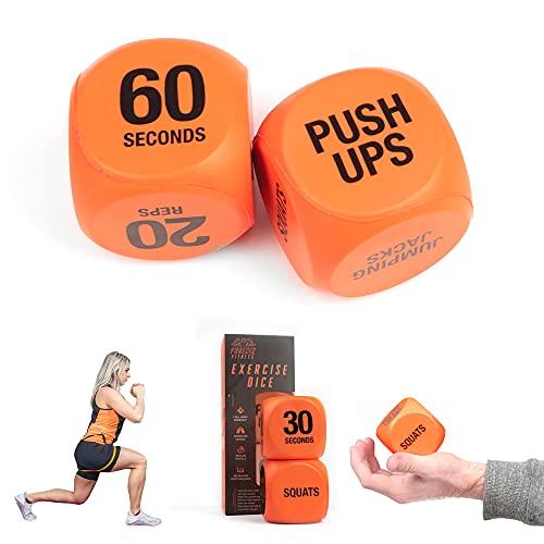 Phoenix Fitness RY1051 Übungswürfel für Workout-Spaß – Fitness-Entscheidungswürfel – Umschalten Sie Trainingsroutinen, HIIT und Übungen – Zuhause und Fitnessstudio – Orange