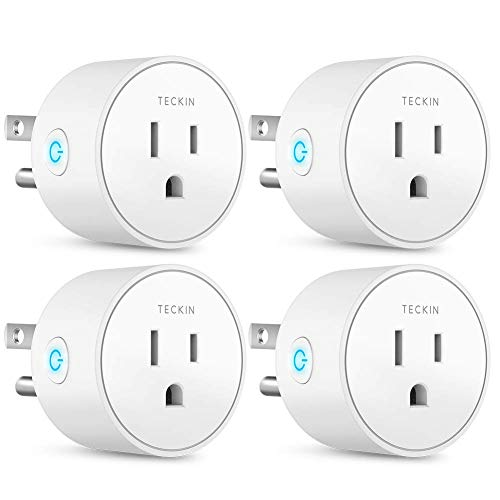 Smart Plug Works with Alexa Google Assistant IFTTT for Voice Control, Teckin Mini Smart Outlet Wifi plug with Timer Function, No Hub Required, White FCC ETL Certified (Renewed)