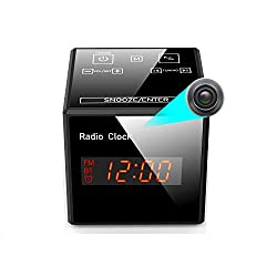 Hidden Camera Clock - Spy Cameras Alarm Clock Radio - Nanny Cams Wireless with Cell Phone APP - HD 960 FM Bluetooth Speaker USB Charging Night Vision & Motion Detection 128Gb Storage 16GB Gift