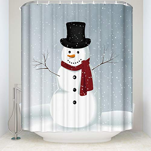 CHARMHOME Winter Holiday Merry Christmas Happy Snowman Shower Curtain Waterproof Polyester Fabric Bath Curtain Decoration 66x72