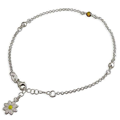 10 Inch Enamel Daisy Charm With Tigers Eye & Ball Beads Sterling Silver Anklet/Ankle Bracelet/Ankle Chain - 925 Sterling Silver - 8.5 to 10 Inch/21.5 to 25 cm - Belcher Chain - Anklets for Women